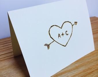 Heart and Arrow Handmade Wedding Card   Heart and Arrow Shower Card   Boho Chic Wedding Card   Rustic Engagement Bridal Shower Card
