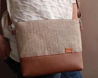 Womens gift Shoulder bag Tweed Crossbody bag Handbags Purse Faux Leather purse Cross body Chevron tweed Bag