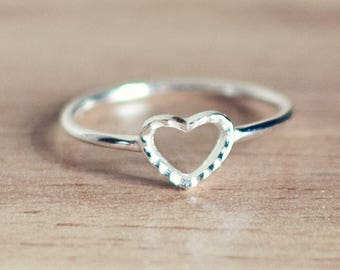 Sterling silver heart ring, heart stacking ring, heart stacker ring,  sterling silver stacker ring, delicate ring, delicate jewellery