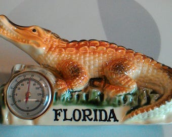Vintage 1950's Alligator Thermometer Florida Souvenir Figurine, Made in Japan