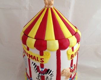 Vintage Nabisco Barnum's Animal's Carousel Cookie Jar