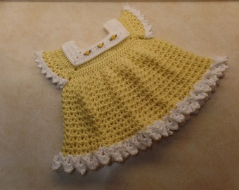 Crochet sunshine & roses baby dress pattern 0-6 month DIGITAL DOWNLOAD ONLY