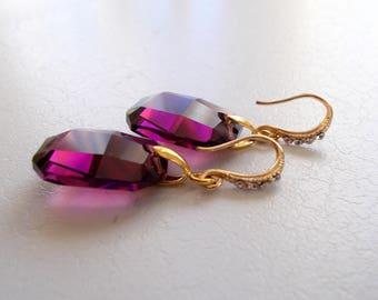 Swarovski Amethyst Earrings with Gold Rhinestone Hooks