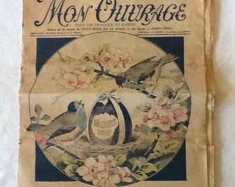 1930's French mag Easter edition. Mon Ouvrage needlework, fashion magazine. French vintage sewing, women's magazine. Color prints.