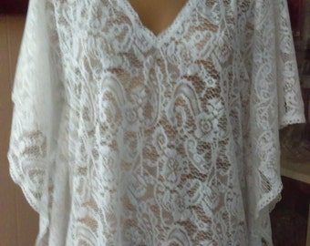 Beautiful bathing suit cover up,winter white lace from England