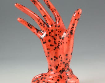 Ceramic Red Glazed Hand Ring Holder Jewelry Tree Hand Glove Mold Great Gift ~ READY TO SHIP