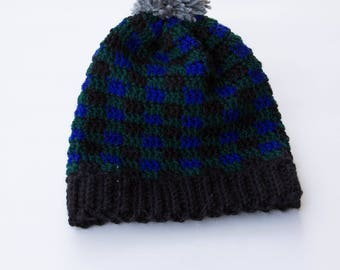 Blue and Green Plaid Crochet Toque, Adult Size