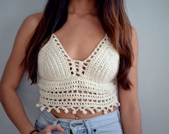 Crochet Festival Top | Crochet Crop Top | Lace Bralette | Halter Top