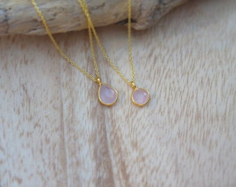 Yellow gold plated sterling silver Pink Quartz Pendant |  Push present | Teardrop shape Rose quartz | Minamilist and dainty