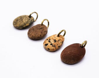 Petrified wood beach stones charms drilled stones pebble charms river rocks pendant river stones drilled ketten kiesel 비즈 (8-116)