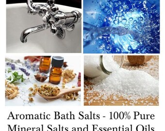 Bath Salts, Mineral Bath Salts, Aromatherapy Bath Salts, 100% Pure Natural Bath Salts with Essential Oils - - 16oz Bag