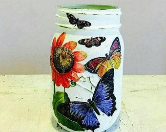 Butterfly shabby chic mason jar pencil holder/dorm decor/brush holder/desk accessories/office decor /toothbrush holder/centerpiece