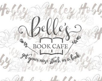 Belle's Book Cafe Beauty and the Beast SVG DXF Silhouette Cut File PNG