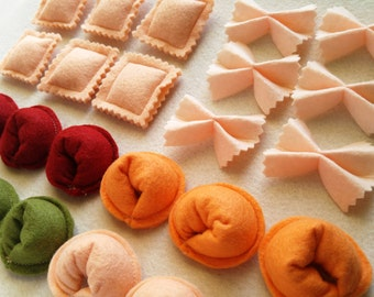 Felt Pasta Set, Felt Play Food for kids, Farfalle Noodles, Bow Tie, Tortellini, toy kitchen pretend play Set for imaginative play, quiet toy