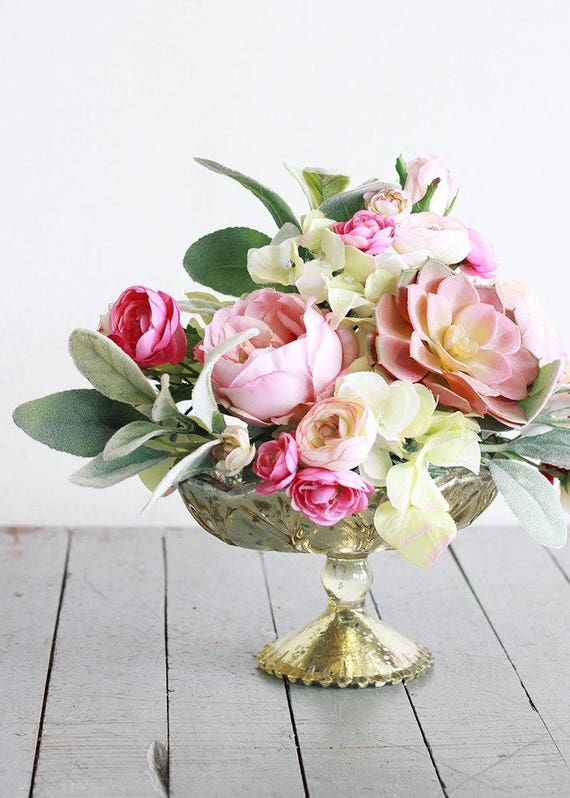 Gold Mercury Glass Floral Vase Flowers Pedestal Vase Wedding