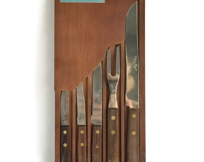 Knife Set Stainless Steel Forgecraft by Washington Forge, Wood Handled Knives, Hanging Carving Set, Wood Knife Holder, Drawer Knife Holder