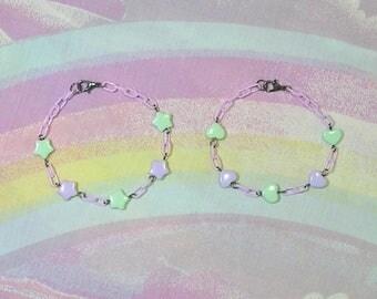 Fairy Kei Bracelet, Sweet Lolita Bracelet, Decora Bracelet, Star Bracelet, Heart Bracelet, Magical Girl Bracelet, Pastel Goth Bracelet