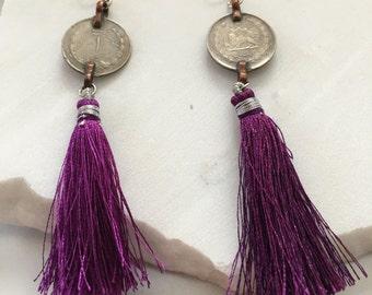 Antik Persian Coin Earrings - Purple