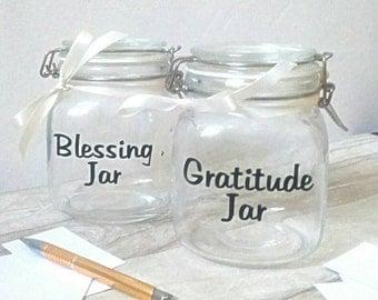 gratitude jar, blessings jar, memory jar, thankful, inspirational keepsake, count your blessings, grateful, gift for women, gift for lovers