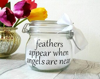 Memory jar, light jar with white feathers, remembrance jar,  white feather memory,  loss of relatives, funeral light