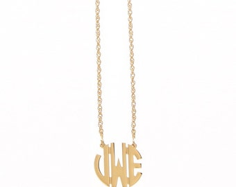 Petite Gold Plated Circle Monogram Necklace
