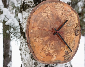 Natural Birch Wood Wall Clock Natural Home Décor Live edge wood clock made from spalted birch most sold best gift best presents
