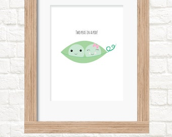 A4 twins peas in a pod nursery prints available in 3 versions twin wall art