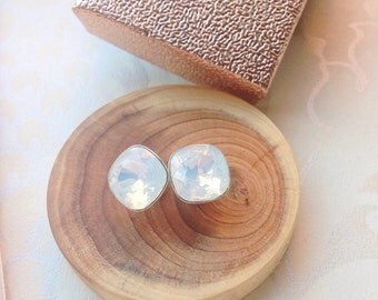 Crystal Sterling Silver Studs With White Opal Swarovski Elements 10 mm