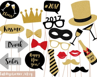 New Years eve Printable Photo Booth Props, signs, instant download, DIY, PDF