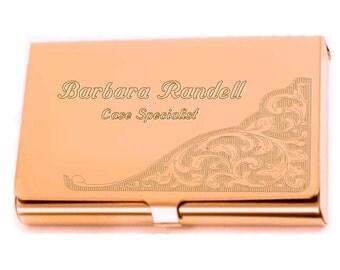 Personalized Business Card Holder (Case) custom engraved Card69 Flourish, rose goldtone