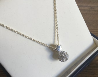 Diamanté ball and star charm and necklace.  Sterling silver