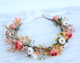 Fall flower crown headband, coral and cream flower crown, headband, wedding headband, flower headband, boho flower girl, ivory crown