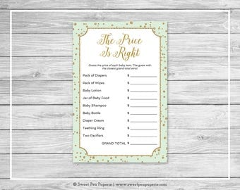 Mint and Gold Baby Shower Price Is Right Game - Printable Baby Shower Price Is Right Game - Mint and Gold Confetti Baby Shower - SP147