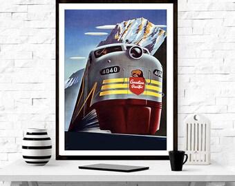 Canadian Pacific Railway Poster - Travel Advertisment, Train, Railway, illustrator, vintage, gift idea, art, Canadian travel, Home Decor