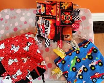 Sensory Blanket - Lovey - Busy Blanket - Baby Comforter - Security Blanket - Monster Trucks - Fireman - Dogs -Baby Boy Blanket - Baby Gift