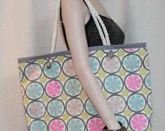 Large pastel citrus beach bag