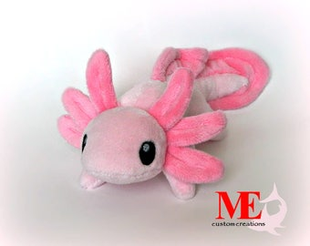 Axolotl Plush Beanie: Custom ColorAlbino Mud Puppy Salamander in Snow, Medium Pink Minky Plushie