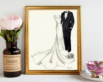 Wedding Gift - Anniversary Gift or Bridal Shower Gift - Custom Wedding Dress and Tuxedo Sketch - His & Hers
