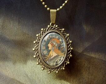 Bronze Alphonse Mucha Zodiac girl Art Pendant necklace