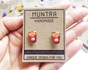 FRENCH FRY EARRINGS French Fry Stud Earrings Post Miniature Food Jewelry Junk Food Fast Food Foodie Grunge Gift Idea Resin Jewelry
