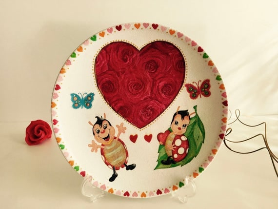 Decoupage Plate, Butterfly Decoupage, Handmade plate, Decorative Plate, Mothers day gift, Ladybug Decorations, Ladybug Table Centerpiece