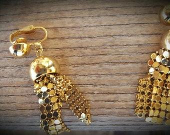 Vintage Metal Mesh Dangle Earrings, Gold Metal Mesh Jewelry