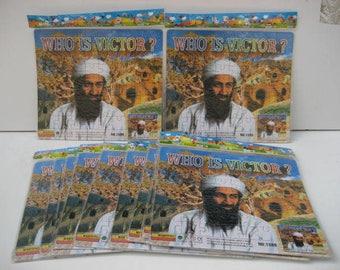 "12 X Osama Bin Laden ""Who is Victor?"" Cardboard Jigsaw Puzzles. 28cm X 25cm. NEW OLD STOCK. Free Worldwide Shipping."