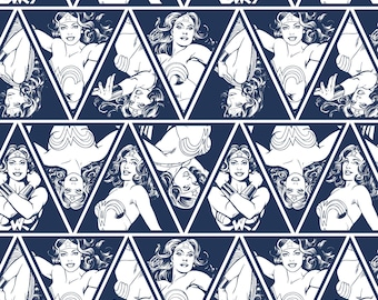 """Warner Brothers Wonder Woman Triangles in Navy Camelot Premium 100% cotton 43"""" wide fabric  (CA139)"""