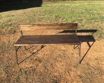 Indoor/outdoor steel and wood bench.