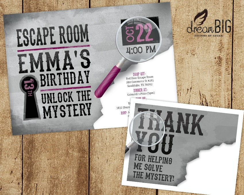 Escape room invite plus thank you card option girls or boys for Escape room party