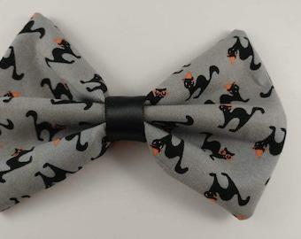 Halloween cat hair bow - grey
