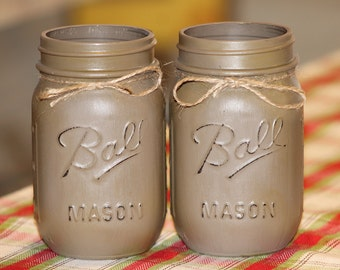 Painted and Distressed Mason Jars Set of Two, Ball Mason Jars, Home Decor