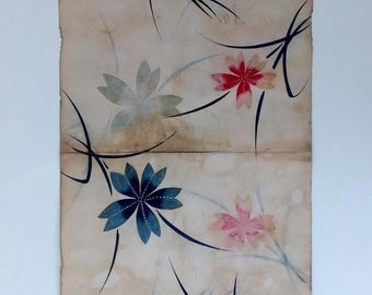 Vintage Japanese hand-painted kimono design on paper.Scattered flowers design,circa 1950s-only one available(966mmX350mm)