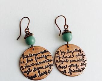 Copper Round earrings, script earrings, one of a kind earrings,
